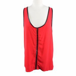 Daytrip Red w/Black Faux Leather pieced tank, Med